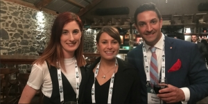 Young event professionals Amy Griffith, Auckland Convention Bureau; Saskia Van-Loggerenberg and Claudio Ruegger, both Stamford Plaza Auckland gather at the Bluestone Room Auckland for CINZ Emerging Talent Programme