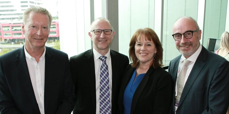Left to Right: Peter King, chief executive, MCEC; Graeme Barnett, senior exhibition director, Reed Travel Exhibitions; Karen Bolinger – CEO, MCB; and Matt Pearce – CEO, Talk2 Media and Events